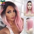 Ombre Baby Pink Short Bob Synthetic Lace Front Wig Straight pastel hair sexy cute color Tonya women Trendy Wigs with black root