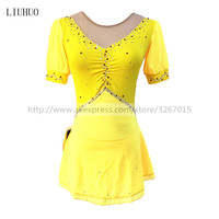 Figure Skating Dress Women's Girls' Ice Skating Dress Yellow Spandex Rhinestone Performance Skating Wear Solid Short SleevesIce