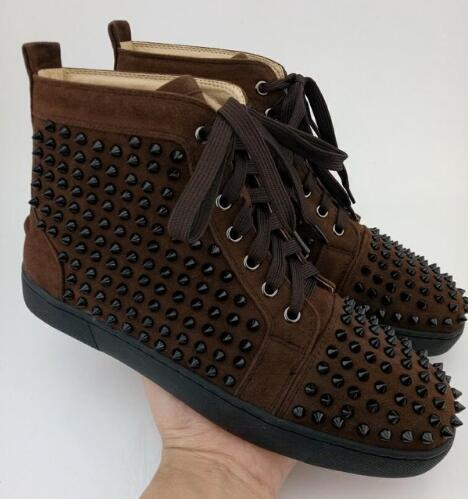 Designer Men Spike Shoes Genuine Leather Casual Shoes Mens Spikes High Top Sneakers Rubber Sole Rivet-Studded-Shoes-Men business men tie shallow mouth brown leather casual rivet shoes men s shoes round youth non slip rubber sole