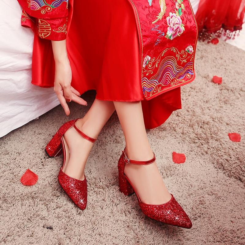 Mariage Hauts chaussures Chaussures Haute Rouge Femmes Mariée Talons Mariage Des Creux De talon Mi À Chaussures qqgxHwE
