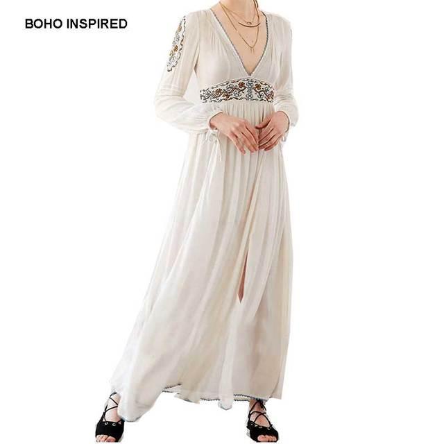 7355d02b2bc698 BOHO GEÏNSPIREERD Maxi Jurk katoen Wit bohemian lange mouwen bloemen  Borduren V-hals vrouwen jurken