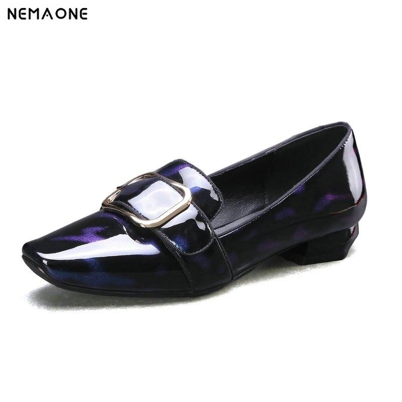 Nemaone 브랜드 봄 가을 여성 정품 가죽 펌프 버클 새로운 스타일 낮은 뒤꿈치 캐주얼 신발 여자 펌프-에서여성용 펌프부터 신발 의  그룹 1