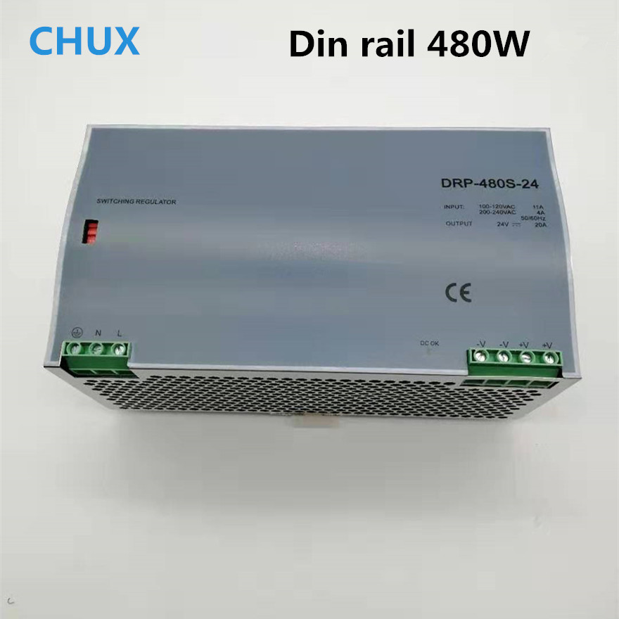 480 W alimentation à découpage 12 v 24 v 48 v DC type de rail Din DC AC DRP480W commutateur de sortie unique transformateur LED pilote SPMS