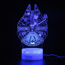 Kids LED Lamp Millennium Falcon Remote Control Touch 3d Table Lamp Illusion Night Light Lamp fairy tale mermaid princess 3d lamp 7 color led night lamp for kids touch remote usb table lamp baby sleeping night light