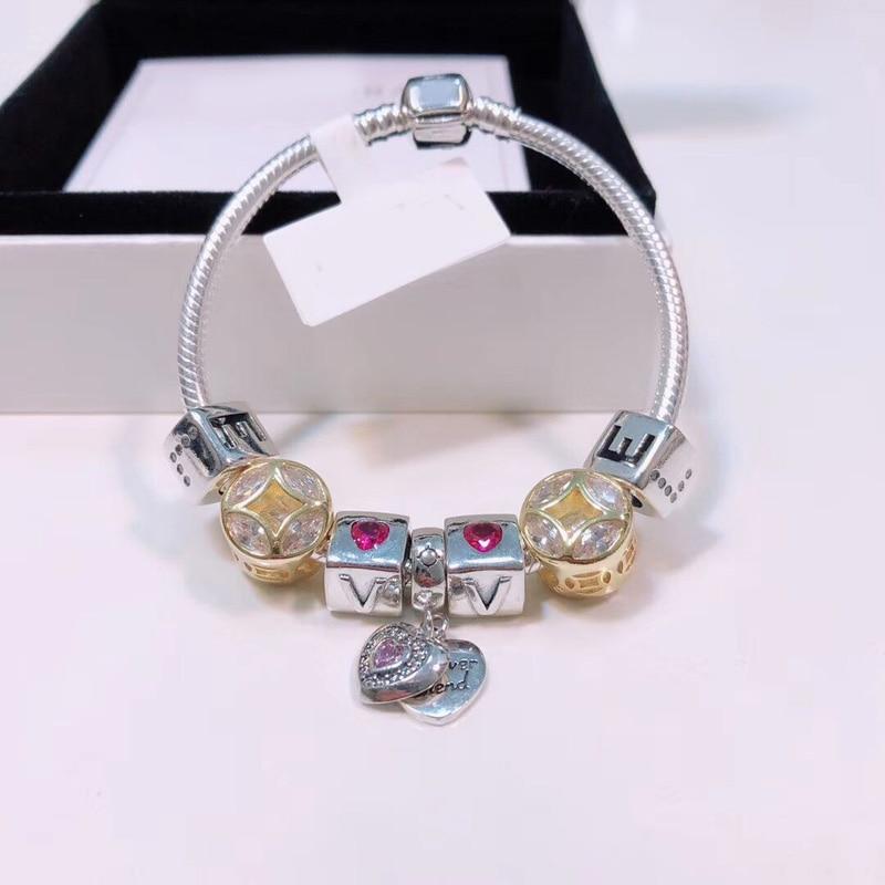 100%925 Sterling Silver Original Reproduction 1:1 Retro Silver Color Charm Bracelet Fine Heart Bracelet Womens Jewelry100%925 Sterling Silver Original Reproduction 1:1 Retro Silver Color Charm Bracelet Fine Heart Bracelet Womens Jewelry