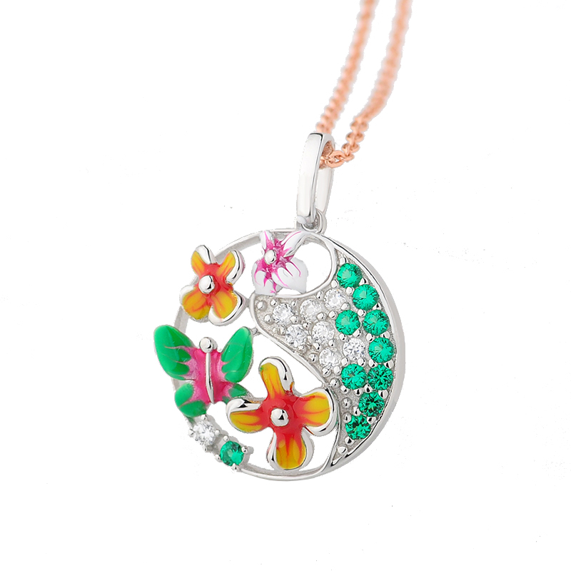 RainMarch 925 Sterling Silver Pendant For Chain Necklace Enamel Flower Silver Necklace Pendant CZ Stone Party enamel Jewelry christmas bell enamel pendant necklace