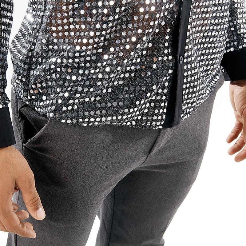 Image 5 - 光沢のあるスパンコール透明シャツ男性 2018 新セクシーシュミーズオムナイトクラブステージウェディングダンスシャツ男性カミーサソーシャルカジュアル シャツ   -