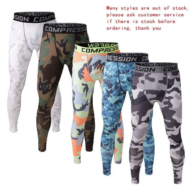 Mens Camouflage Compression Pants Leggings Sports Joggers Fitness Bodybuilding Running Tights Crossfit Trousers Sweatpants