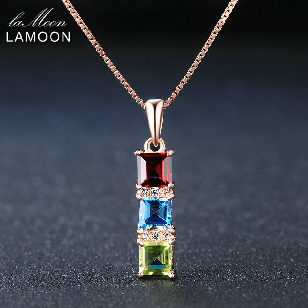 LAMOON 925 Sterling Silver Necklace For Women Peridot Topaz Garnet Gemstone Pendant 18K Rose Gold Color Fine Jewelry LMNI052 image
