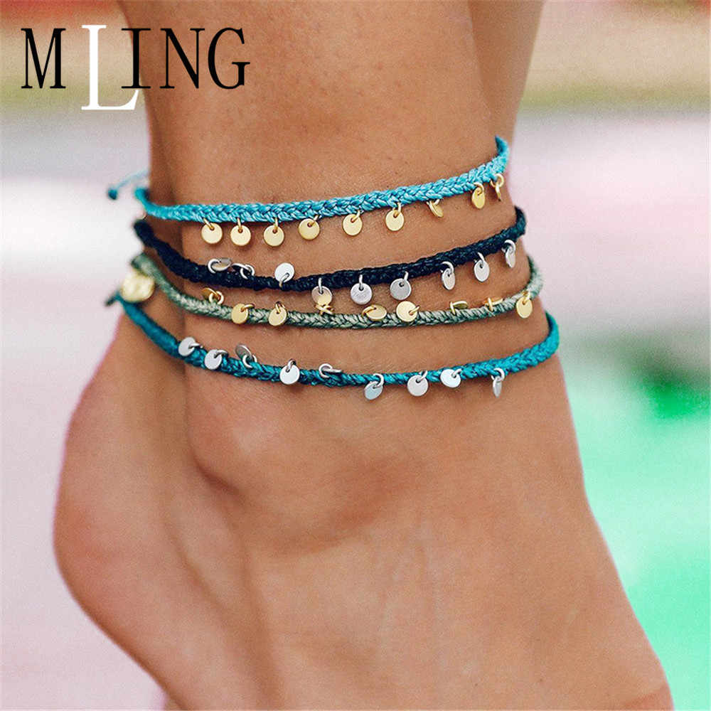 MLING Bohemian Sequin Anklet For Women Charm Weave Rope Chain Bracelet Anklet Fashion Jewelry gifts
