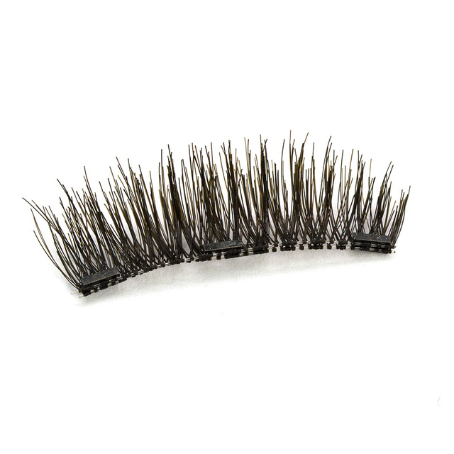 Handmade 3D Magnetic Natural False Eyelashes with 3 Magnets