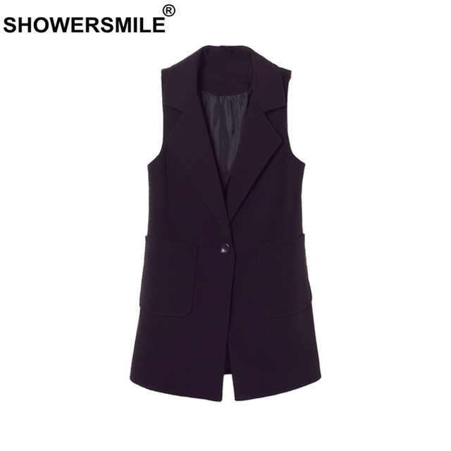 eb3a49549ac65e SHOWERSMILE Black Long Waistcoat Women Spring Office Uniform Vest Regular  Fit Gilet with Pockets Formal Sleeveless Jacket