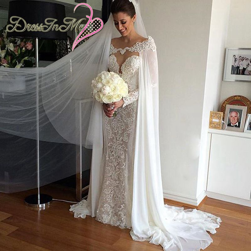 White Ivory Chiffon Wedding Cape With Lace And Pearls Custom Made Jacket In Jackets Wrap From Weddings Events On Aliexpress