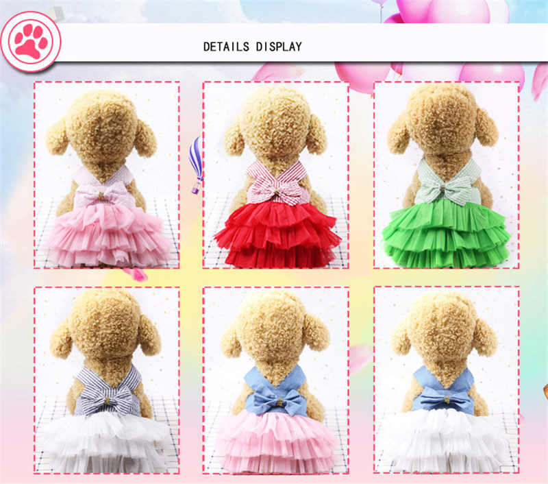 2019 Pet Clothes Sweet Bowknot Small Dog Skirt Girl Tutu Clothing Puppy Cat Sleeveless Apparel Teddy Clothes Harness AprT3 (6)