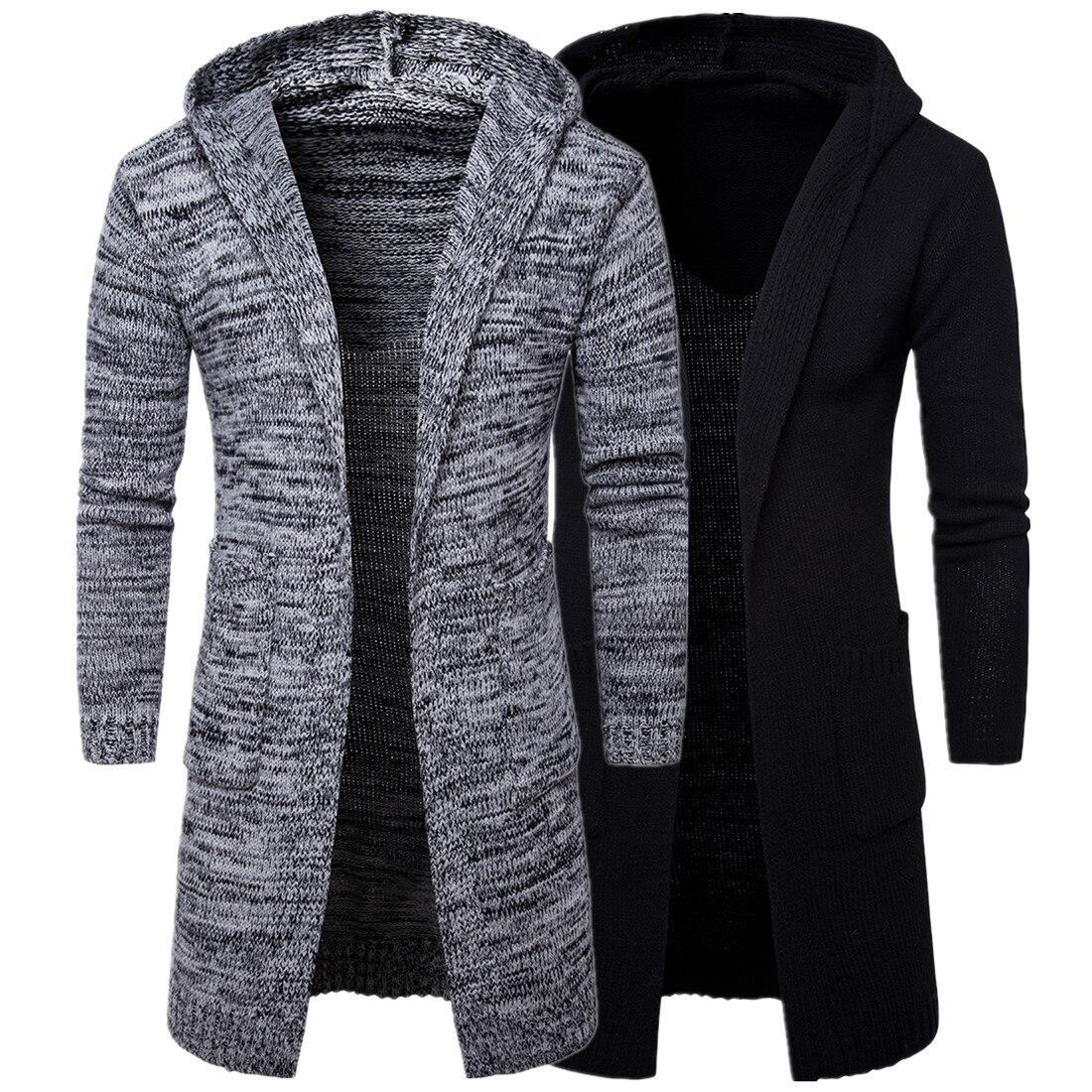 2018 hommes Slim hiver manteau veste à manches longues élégant Trench tricot chaud vestes pour hommes manteau