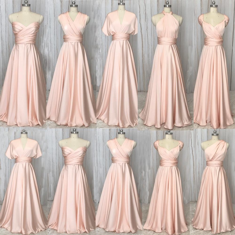 SuperKimJo Convertible Bridesmaid Dresses 2020 Long Soft Pink Cheap Wholesale Wedding Party Dresses Vestido Madrinha