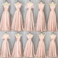 SuperKimJo Convertible Bridesmaid Dresses 2018 Long Soft Pink Cheap Wholesale Wedding Party Dresses Vestido Madrinha