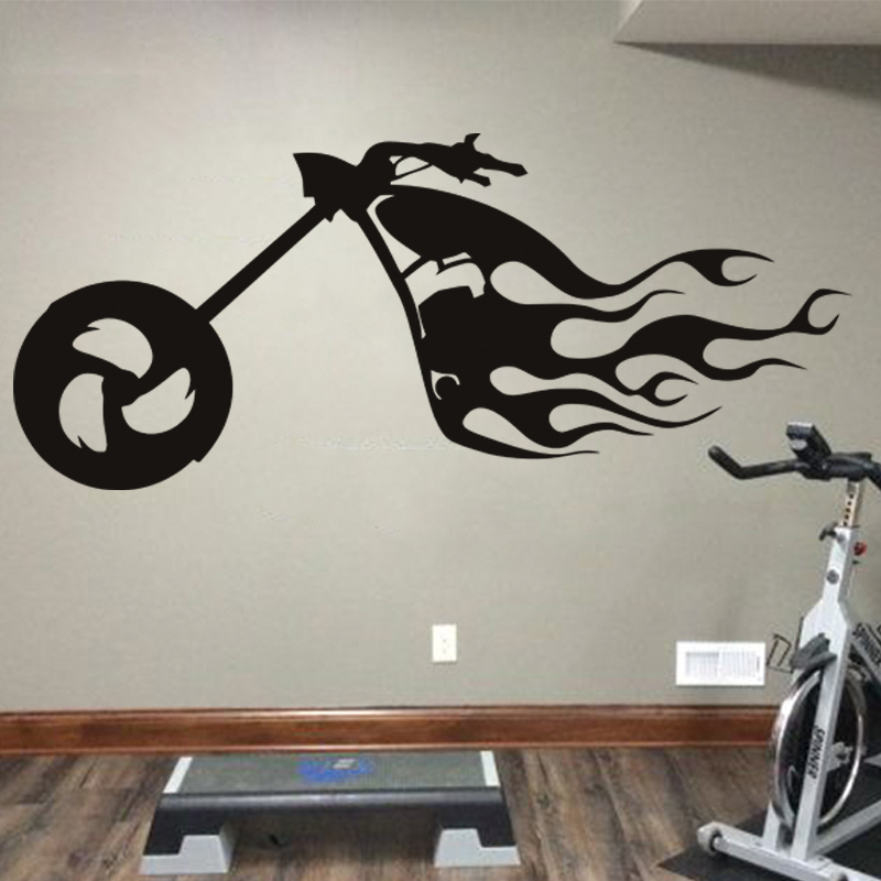 Art design cheap home decoration pvc fire motor bike wall for Cheap wall mural decals