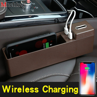 Auto Seat Gap Filler Storage Box Car Storage box Wireless Charging Console Armrest Side Pocket Organizer Interior Accessories