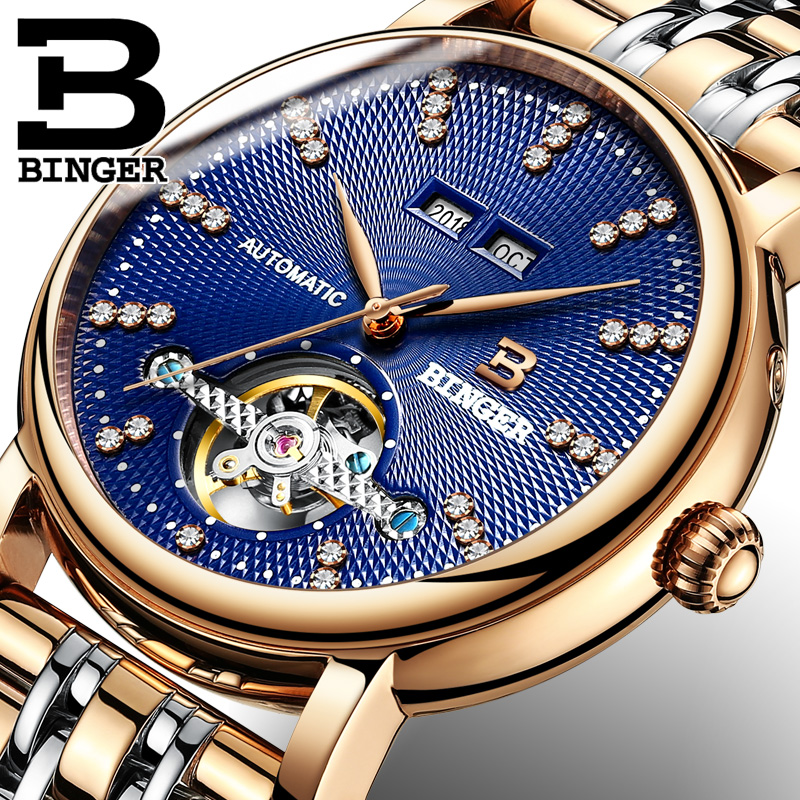 BINGER Brand Mechanical Watches Luxury Rose Gold Case Stainless Steel Unique Diamond Display Fashion Blue Men Automatic Watch