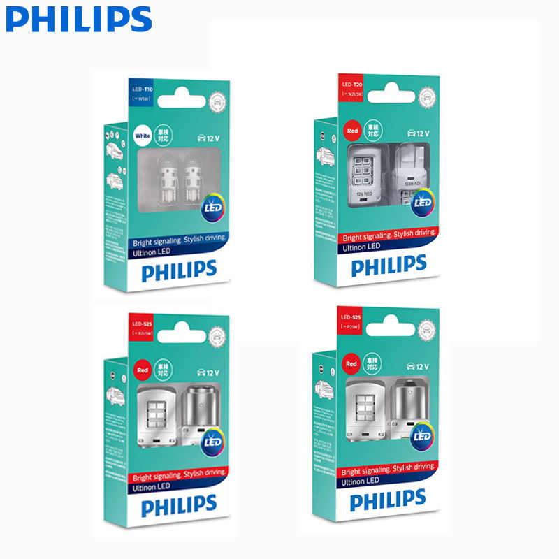 Philips Ultinon LED T10 T20 S25 W5W W21/5W P21W P21/5W 12V LED Turn Signal Lamps Interior Light Reverse Bulbs (Twin)