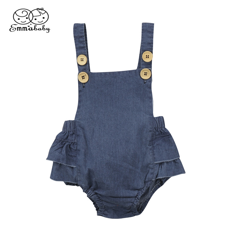 Hot Sale Denim Sleeless Romper Newborn Baby Girl Ruffle Jeans Romper 2018 Summer Fashion Jumpsuit PP Pants Sunsuit Baby Clothing