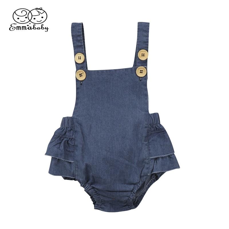 Hot Sale Denim Sleeless Romper Newborn Baby Girl Ruffle Jeans Romper 2018 Summer Fashion Jumpsuit PP Pants Sunsuit Baby Clothing