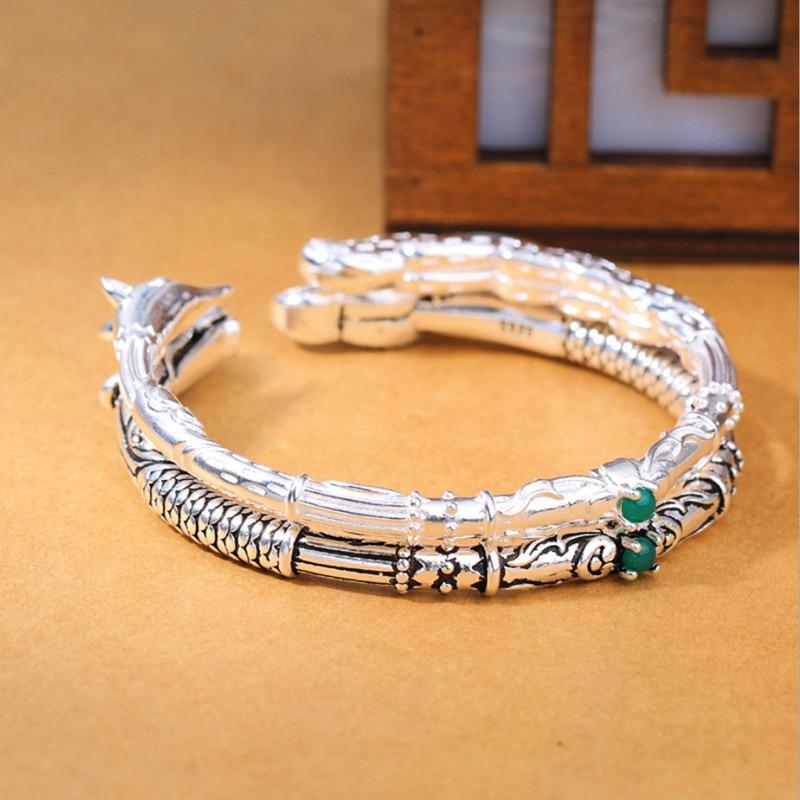Silver 925 Jewelry Black Dragon White Fox Bangle Vintage Style Sterling Silver Openings Couple Bracelet Fashion Woman Girl Party