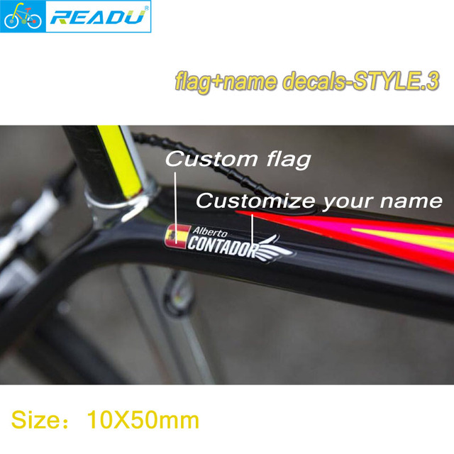 2018 style custom unique name national flag stickers for road bike frame flag personal name bicycle