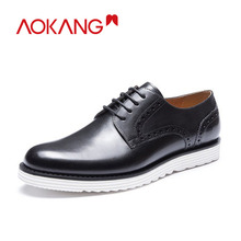 AOKANG New Arrival Shoes men leather genuine Brogue fashion black dress shoes hard-wearing derby high quality