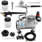 OPHIR 0.3mm 0.8mm Dual Action Airbrush Kit with PRO Air Compressor for Cake Decorating Car Paint Temporary Tattoo_AC089+004+071