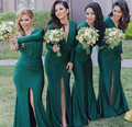 New Arrival 2016 Custom Dark Green Mermaid Sexy Slit Bridesmaid Dress V-Neck Long Sleeve Bridesmaid dresses Vestidos de madrinha