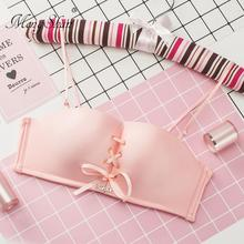 MengShan New sexy Pull B four corner cup bras Cozy and indentation Adjustable pull rope underwear Maiden without steel ring