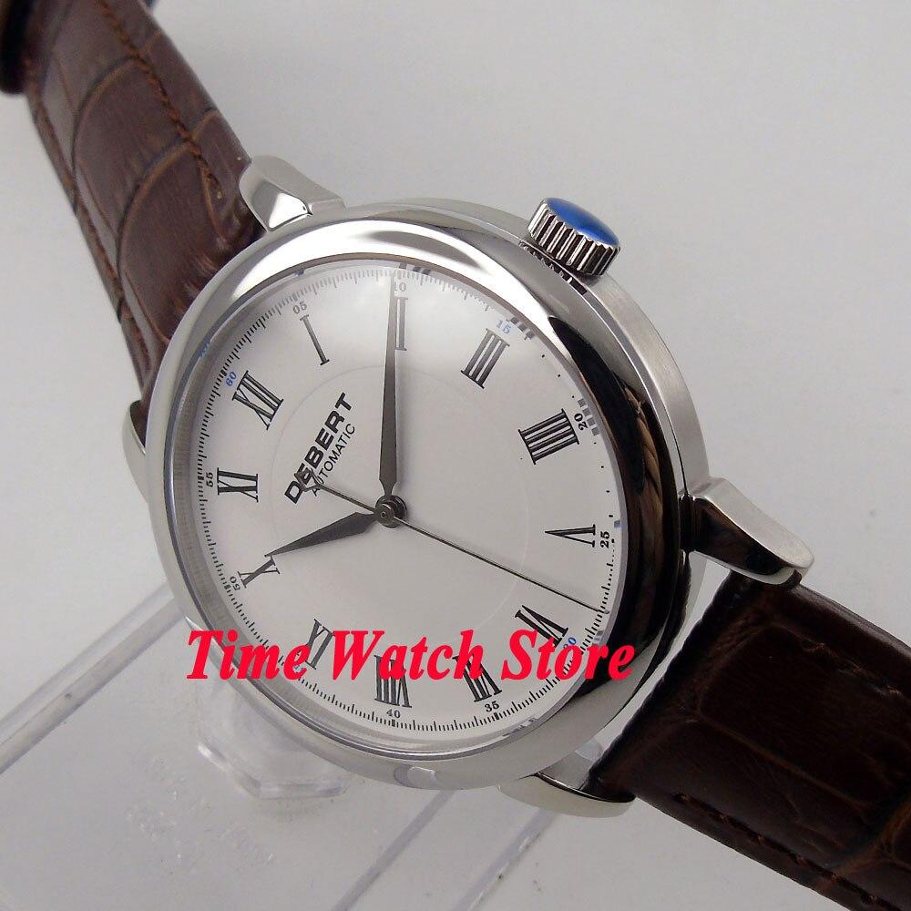 DEBERT 40mm white dial silver hands sapphire glass MIYOTA 821A Automatic movement men's watch DE28 debert 45mm white dial miyota 821a movement automatic date day mens watch