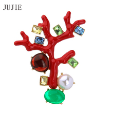 JUJIE Brand Pearl Flower Brooches For Women 2017 Fashion Red Color Tree Crystal Brooch For Wedding Plant Lapel Pins Brooches jujie fashion crystal deer brooches coat clothing scarf lapel pins elk corsage fashion jewelry