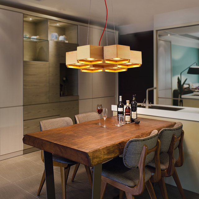 Southeast Asia Wood Honeycomb Cellular Pendant Light North European Style Study Dining Room Lamp