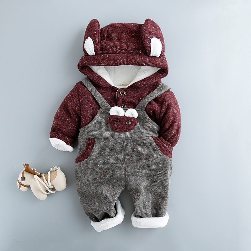 Thicken Newborn Boy Girl Clothing Set 2018 Winter Hoodies Pants 2 Pcs Cotton Baby's Sets Cartoon Animal Baby Girl Clothes 4cs067 newborn baby boy girl 5 pcs clothing set cotton cartoon monk tops pants bib hats infant clothes 0 3 months hight quality