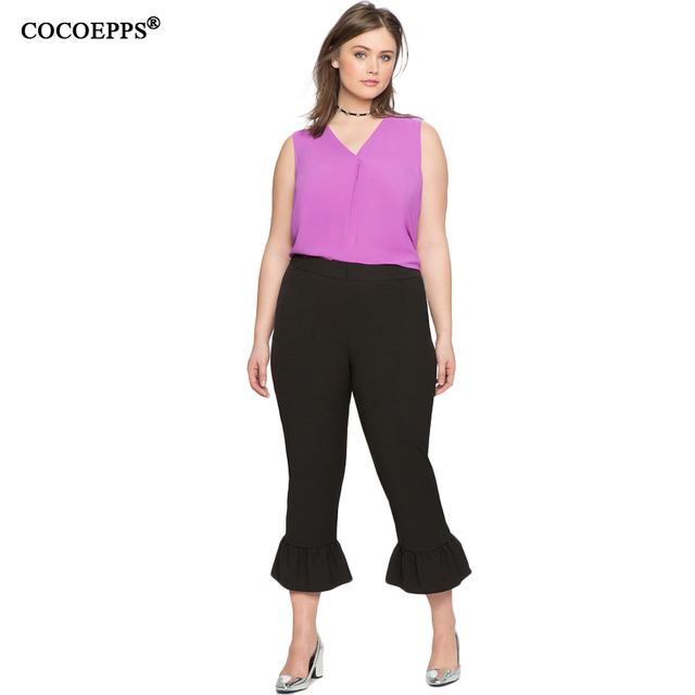 Women Elegant Flare Pants Big Size Female Trousers Elastic Waist Casual Office Pants