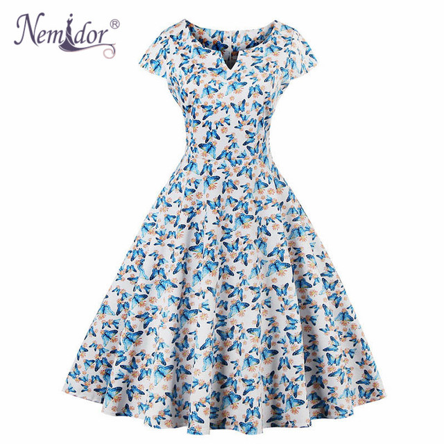 Nemidor Elegant Patchwork 50s Plus Size Swing Dress V-neck Knee Length Party Rockabilly Dress