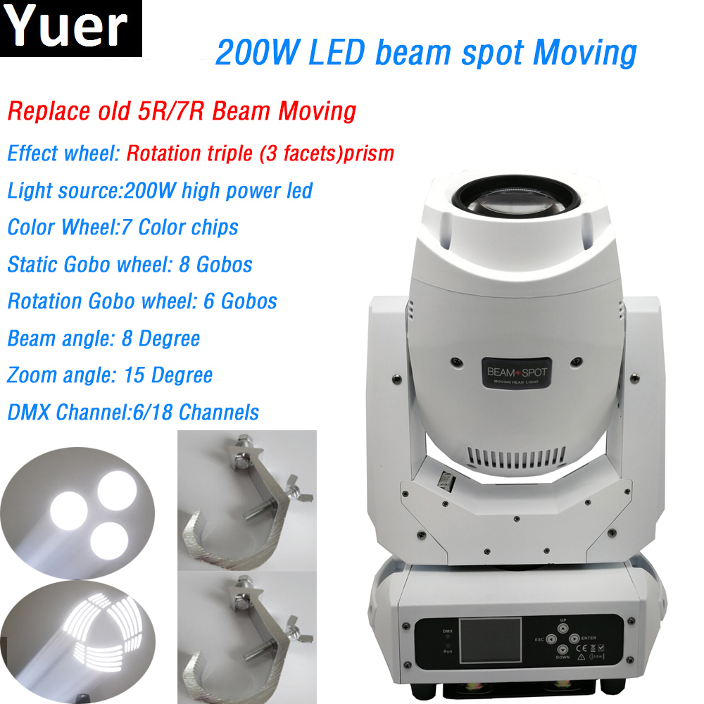White Shell Led Beam spot 2in1 200w 2 Gobo wheels Moving Head Light 7 colors 3 facets prism DMX For Bar DJ Disco Party Stage