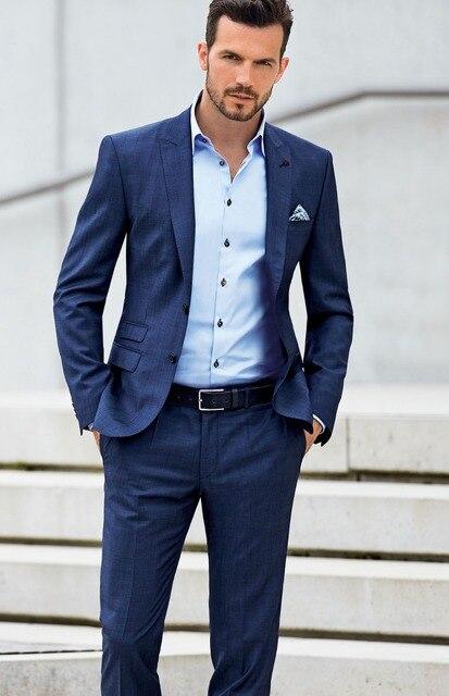 Custom Made Slimming Groomsman Wedding The Royal Blue Best Man Take A Gun Collar Men Suit