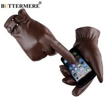 BUTTERMERE Mens Winter Gloves Leather Male Glove For Mobile Phone Black Brown Driving Velvet Warm Touch Screen