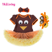 Summer Thanksgiving Newborn Clothing Set Infant Turkey Rompers Dress Headband Shoes 3pcs Sets Carters Baby Girl