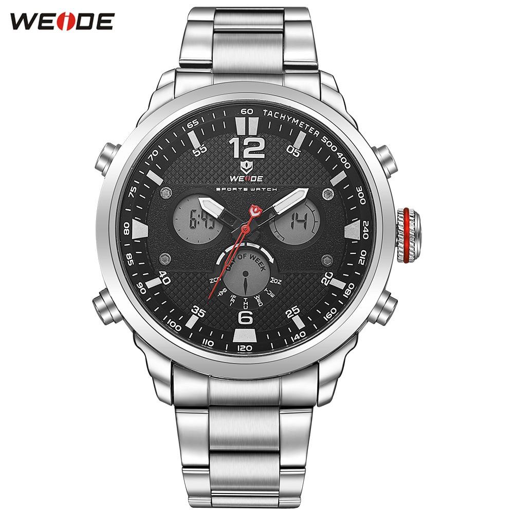 цена на Fashion Top Brand WEIDE Men LED Silver Black Analog Watch Outdoor Sports Watch Mens Quartz Steel Band Waterproof Army Wristwatch