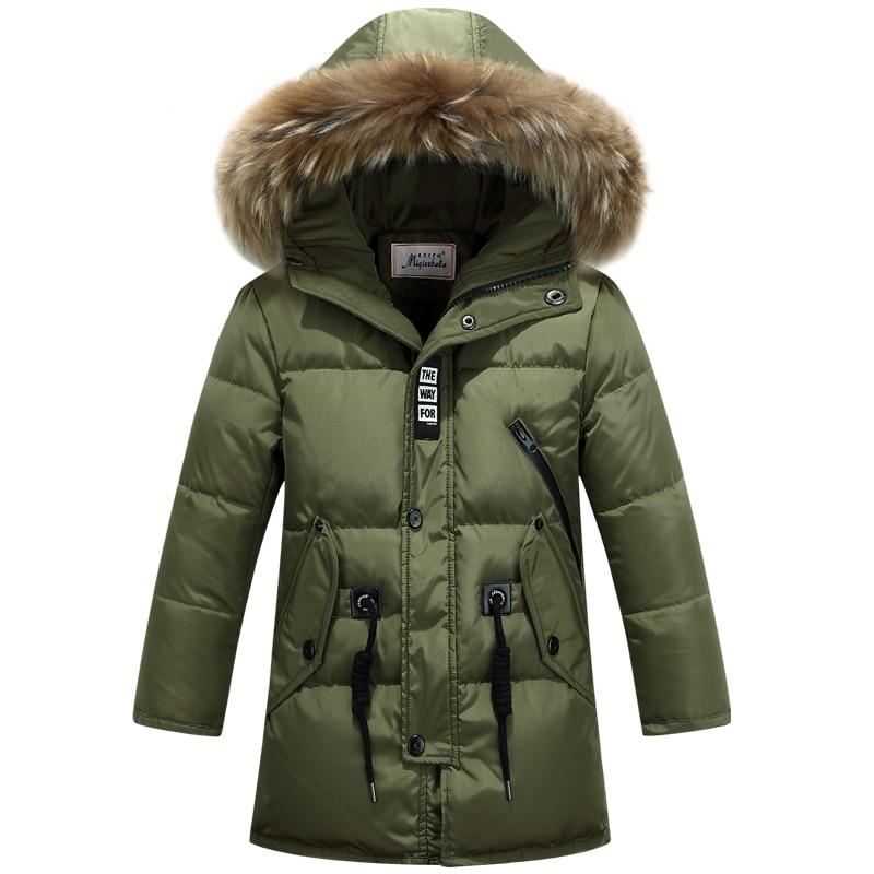 children duck down outerwear Boys winter jacket kids coat with fur hood long warm thick winter coats