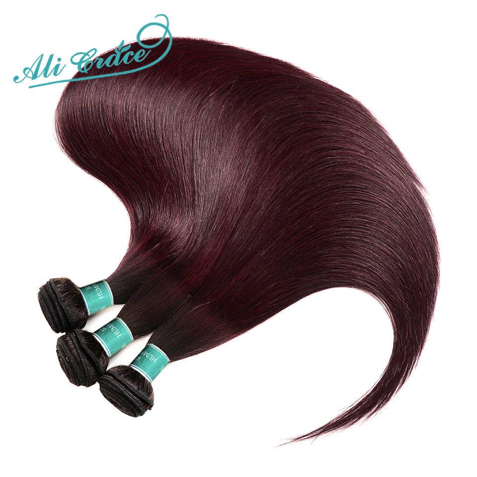 Ali graça cabelo brasileiro em linha reta 3 pacotes ombre tecer cabelo humano com 4*4 fechamento do laço 100% remy cabelo 1b/99j