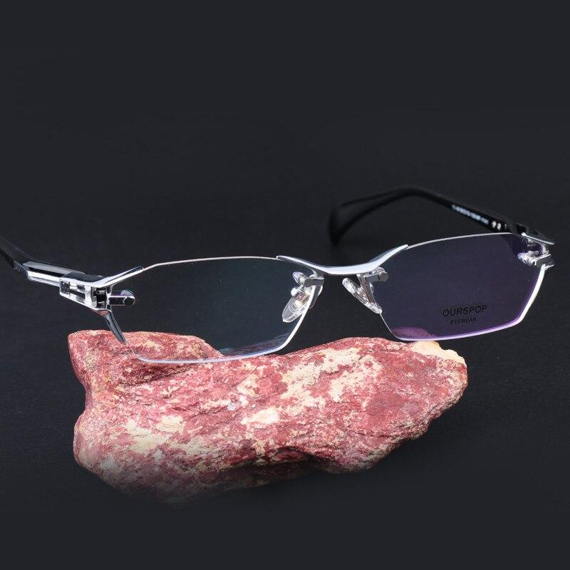 Tout nouveau 100% titane pur sans monture lunettes cadres hommes myopie optique lunettes cadre Prescription lunettes oculos de grau - 2