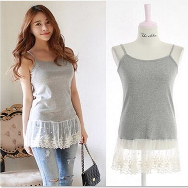 3 Colors Summer High Street Basic Clothing Female New Korean Style Spaghetti strap Lace Women Tops Cotton Sexy Camisole 1