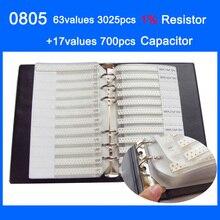 החדש 0805 SMD מדגם ספר 63 ערכים 3025 יחידות 1% הנגד ערכת 17 ערכים 700 יחידות קבלים סט