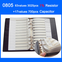 Nuevo 0805 SMD Sample Book 63 valores 3025 Uds 1% Kit de Resistor y 17 valores 700 Uds condensador Set